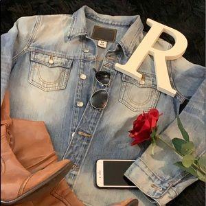True Religion Day Blue Women's Nora Shirt Jacket M